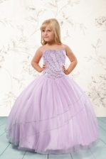 Lilac Tulle Lace Up Little Girls Pageant Dress Wholesale Sleeveless Floor Length Beading