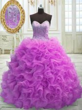 Top Selling Lilac Quinceanera Dresses Military Ball and Sweet 16 and Quinceanera with Beading and Ruffles Sweetheart Sleeveless Sweep Train Lace Up