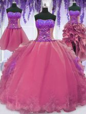 Pretty Four Piece Sleeveless Floor Length Embroidery and Ruffles Lace Up Sweet 16 Quinceanera Dress with Pink