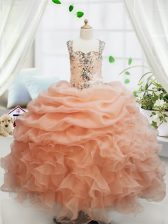 Fancy Orange Sleeveless Beading and Ruffles and Pick Ups Floor Length Little Girls Pageant Dress