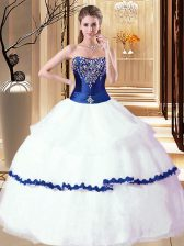 White and Royal Blue Organza Lace Up Strapless Sleeveless Floor Length Quinceanera Dress Beading and Ruffled Layers