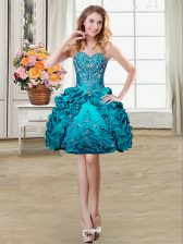 Pick Ups Sweetheart Sleeveless Lace Up Prom Party Dress Teal Organza and Taffeta