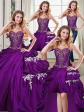 Four Piece Purple Sweetheart Lace Up Beading and Appliques and Pick Ups Sweet 16 Quinceanera Dress Sleeveless