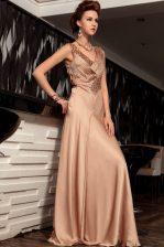 Brown Sleeveless Beading and Ruching Floor Length Homecoming Dress