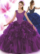Exceptional Scoop Sleeveless Zipper Floor Length Beading and Ruffles Sweet 16 Quinceanera Dress