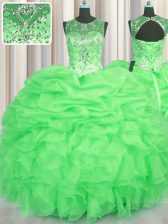 Amazing See Through Scoop Lace Up Beading and Ruffles and Pick Ups Sweet 16 Quinceanera Dress Sleeveless