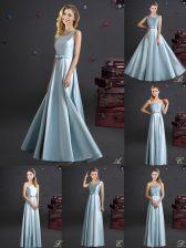 Beautiful Light Blue Empire Square Sleeveless Elastic Woven Satin Floor Length Zipper Bowknot Quinceanera Court Dresses
