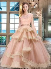 Scoop Cap Sleeves Floor Length Zipper Quinceanera Gown Peach for Military Ball and Sweet 16 and Quinceanera with Beading and Lace and Appliques and Ruffled Layers