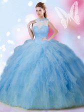 Wonderful Sleeveless Beading and Ruffles Lace Up Vestidos de Quinceanera