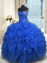 Floor Length Royal Blue Quinceanera Dresses Sweetheart Sleeveless Lace Up