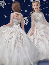 Scoop Long Sleeves Floor Length Beading Zipper Flower Girl Dress with White