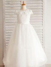 Luxurious Scoop White Short Sleeves Floor Length Beading and Appliques Zipper Flower Girl Dresses