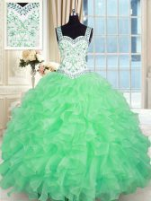 Luxurious Sweetheart Lace Up Beading and Appliques and Ruffles Quinceanera Dress Sleeveless