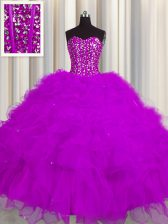 Visible Boning Fuchsia Tulle Lace Up 15 Quinceanera Dress Sleeveless Floor Length Beading and Ruffles and Sequins