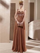 Brown Zipper Prom Dresses Beading Sleeveless Floor Length
