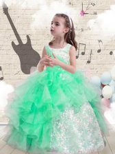 Apple Green Ball Gowns Scoop Sleeveless Organza Floor Length Lace Up Beading and Ruffles Girls Pageant Dresses