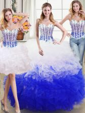 Amazing Three Piece Floor Length Lace Up Vestidos de Quinceanera White and Blue for Military Ball and Sweet 16 and Quinceanera with Beading and Ruffles
