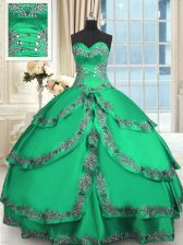 Sweetheart Sleeveless Taffeta Sweet 16 Quinceanera Dress Beading and Embroidery and Ruffled Layers Lace Up