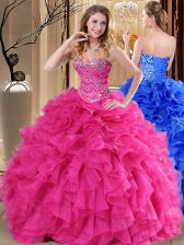 Floor Length Lace Up Quinceanera Dresses Hot Pink for Military Ball and Sweet 16 and Quinceanera with Beading and Ruffles