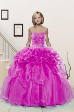 Trendy Pick Ups Ball Gowns Little Girl Pageant Dress Fuchsia Sweetheart Organza Sleeveless Floor Length Lace Up