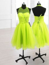 Yellow Green A-line Organza High-neck Sleeveless Sequins Knee Length Lace Up Prom Dresses