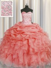 Latest Watermelon Red Sweetheart Lace Up Beading and Ruffles Vestidos de Quinceanera Sleeveless