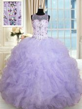 Lavender Ball Gowns Tulle Scoop Sleeveless Beading and Ruffles Floor Length Lace Up Sweet 16 Quinceanera Dress