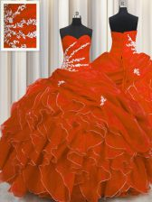 Low Price Sleeveless Lace Up Floor Length Beading and Appliques and Ruffles Sweet 16 Dress