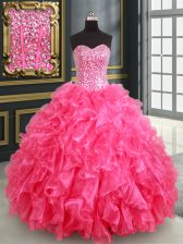 Fashionable Hot Pink Lace Up Sweetheart Beading and Ruffles and Sequins Sweet 16 Dress Organza Sleeveless