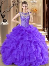 Scoop Organza Sleeveless Floor Length Quinceanera Gowns and Beading and Ruffles