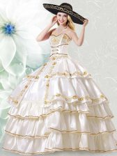Stunning White Ball Gowns Sweetheart Sleeveless Taffeta Floor Length Lace Up Embroidery and Ruffled Layers 15th Birthday Dress