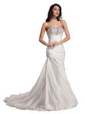 White Column/Sheath Sweetheart Sleeveless Taffeta With Train Sweep Train Lace Up Beading Dress for Prom
