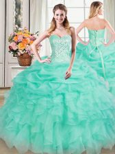 Superior Apple Green Organza Lace Up 15 Quinceanera Dress Sleeveless Floor Length Beading and Ruffles and Pick Ups
