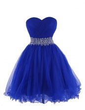 Empire Dress for Prom Royal Blue Sweetheart Organza Sleeveless Mini Length Lace Up