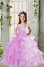 Lavender Ball Gowns Organza Square Sleeveless Lace and Ruffled Layers Floor Length Lace Up Little Girl Pageant Gowns