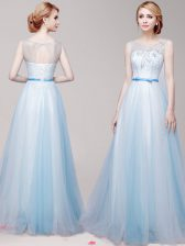 Sumptuous Scoop Light Blue Tulle Lace Up Evening Dress Sleeveless Floor Length Appliques and Bowknot