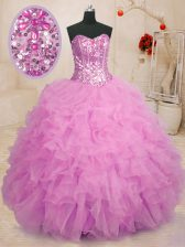Clearance Lilac Sleeveless Floor Length Beading and Ruffles Lace Up 15 Quinceanera Dress
