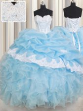 Super Pick Ups Sweetheart Sleeveless Lace Up 15 Quinceanera Dress Baby Blue Organza