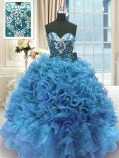 Latest Blue Ball Gowns Organza Sweetheart Sleeveless Beading and Ruffles Floor Length Lace Up Sweet 16 Dresses