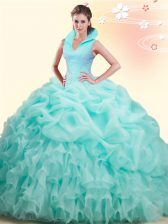 Apple Green Ball Gowns Beading and Ruffles and Pick Ups Sweet 16 Dresses Backless Organza Sleeveless