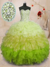 Modern Sleeveless Beading and Ruffles Lace Up Quince Ball Gowns