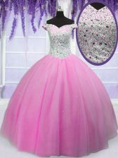 Hot Pink Tulle Lace Up Off The Shoulder Short Sleeves Floor Length Vestidos de Quinceanera Beading