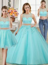 Three Piece Scoop Aqua Blue Tulle Zipper Sweet 16 Dresses Sleeveless Floor Length Beading and Appliques