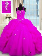 Modest Fuchsia Quinceanera Dress Military Ball and Sweet 16 and Quinceanera with Beading and Pick Ups Spaghetti Straps Sleeveless Lace Up