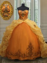 Wonderful Sleeveless Court Train Lace Up With Train Beading and Appliques and Pick Ups Quinceanera Dresses