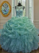Sexy Scoop Sleeveless 15 Quinceanera Dress Floor Length Beading and Ruffles and Pick Ups Green Organza