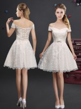 Delicate Off the Shoulder Sleeveless Lace Knee Length Lace Up Vestidos de Damas in Champagne with Lace and Appliques