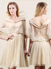 Lace Mini Length Champagne Court Dresses for Sweet 16 Off The Shoulder Sleeveless Zipper