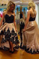 Suitable Asymmetrical Champagne Evening Dress Bateau Sleeveless Zipper
