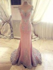 Unique Mermaid Rose Pink Clasp Handle Sweetheart Beading and Appliques Dress for Prom Satin Cap Sleeves Watteau Train
